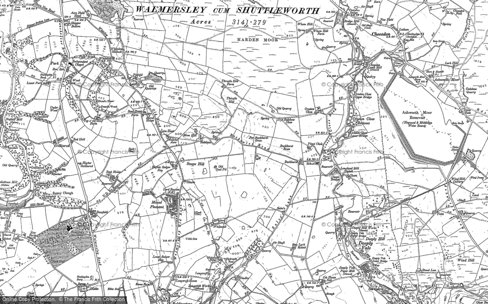 Old Map of Historic Map covering Baldingstone in 1891