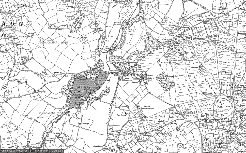 Old Map of Historic Map covering Afon Horon in 1888