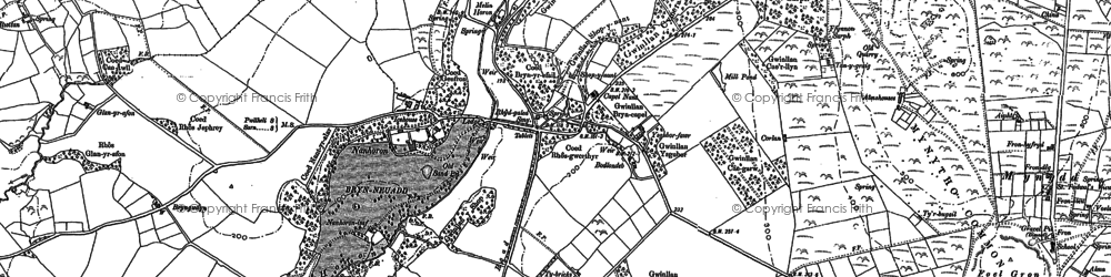 Old map of Afon Horon in 1888