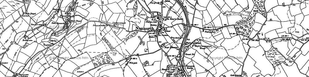 Old map of Nannerch in 1898
