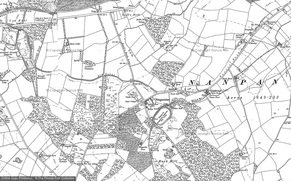 Old Map of Historic Map covering Wood Brook in 1883