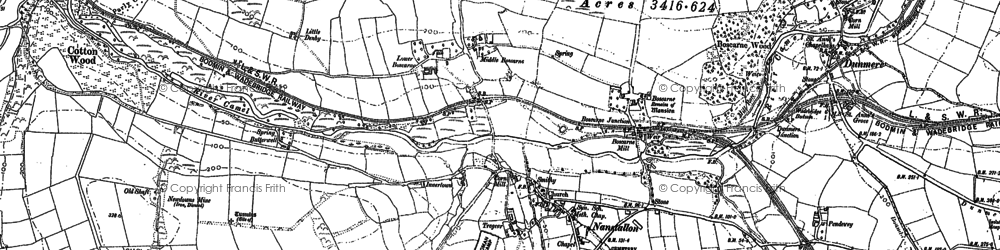Old map of Threewaters in 1880