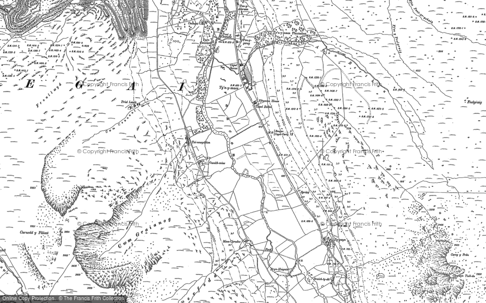 Old Map of Historic Map covering Afon Berthen in 1888