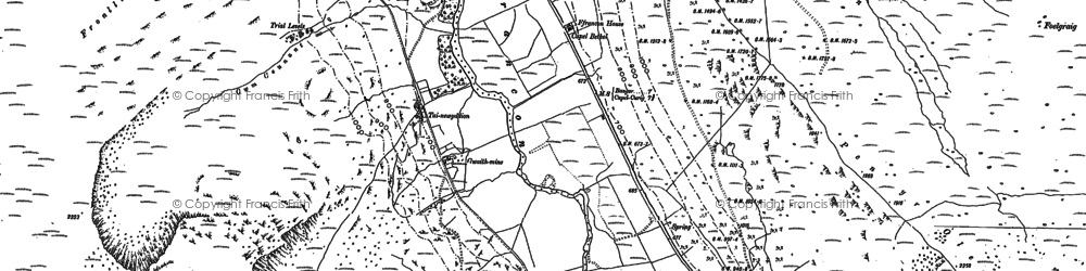 Old map of Afon Berthen in 1888