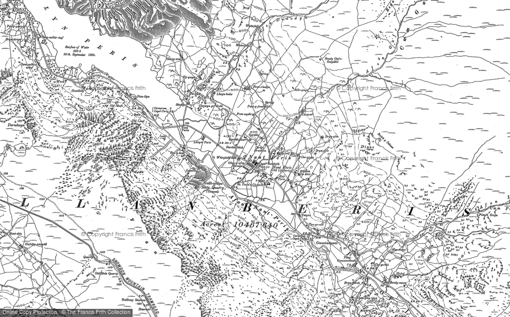Old Map of Historic Map covering Adwyrwaen in 1888