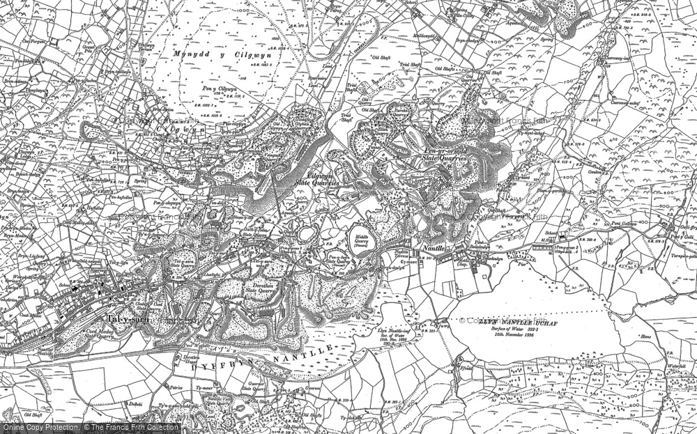 Old Map of Historic Map covering Afon Drws-y-coed in 1888