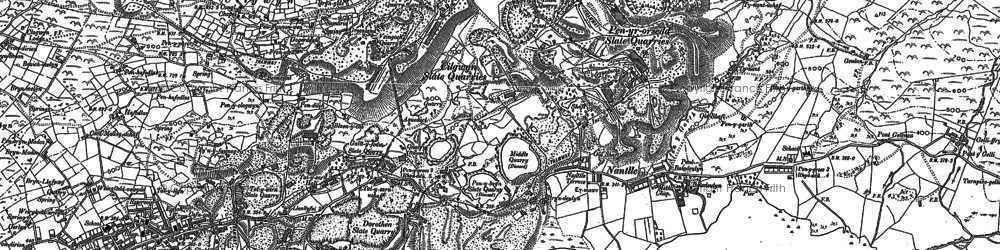 Old map of Afon Drws-y-coed in 1888