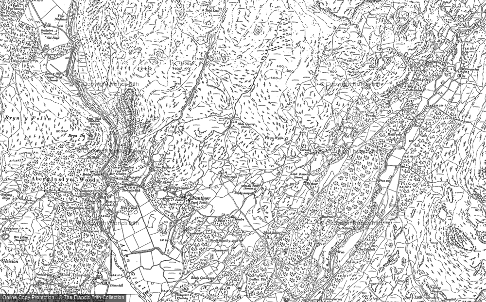 Old Map of Historic Map covering Aberglaslyn Hall in 1899