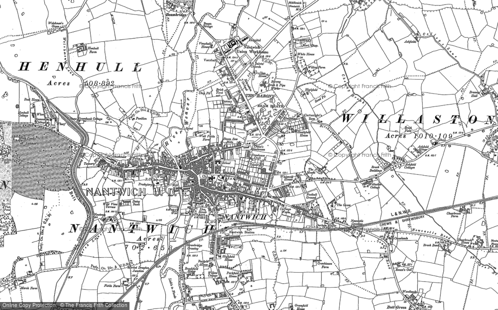Old Map of Nantwich, 1897 in 1897