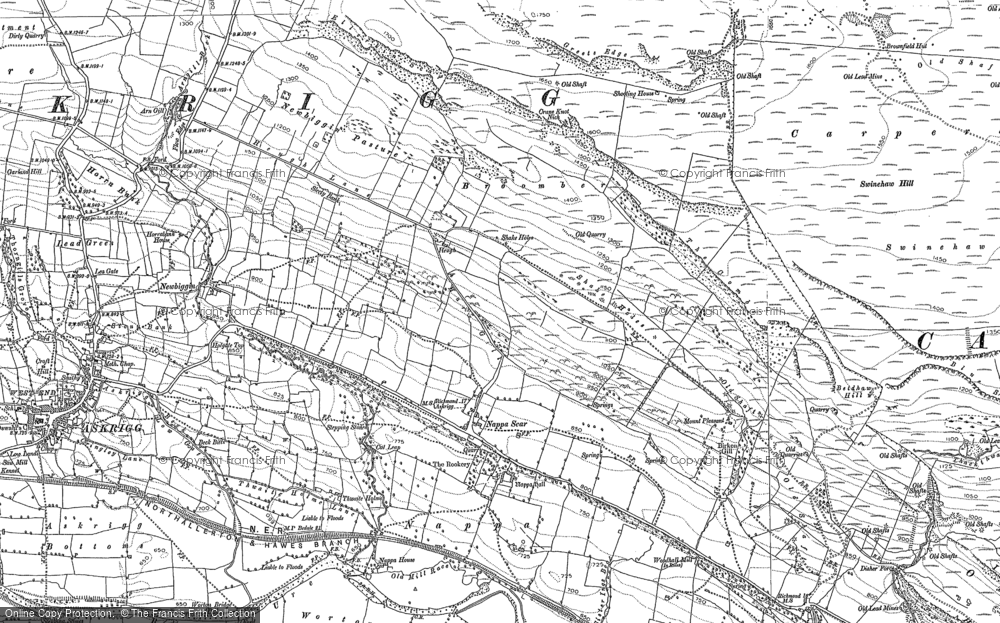 Old Map of Historic Map covering Woodhall Greets in 1891