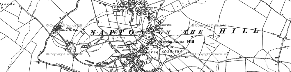 Old map of Napton on the Hill in 1885