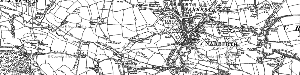 Old map of Narberth in 1887