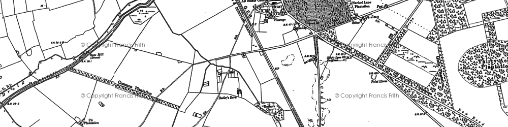 Old map of Narborough in 1883