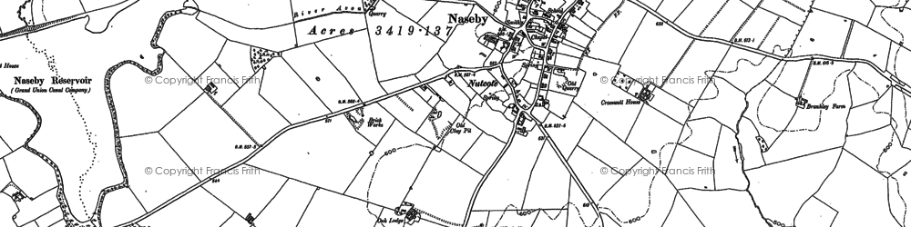 Old map of Naseby in 1884