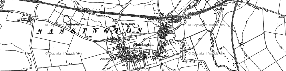 Old map of Nassington in 1885