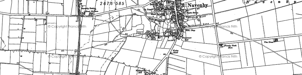 Old map of Navenby in 1886
