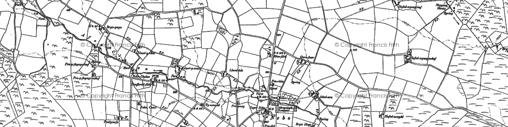 Old map of Afon Cledan in 1904