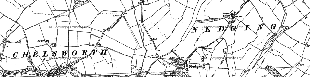 Old map of Nedging in 1884