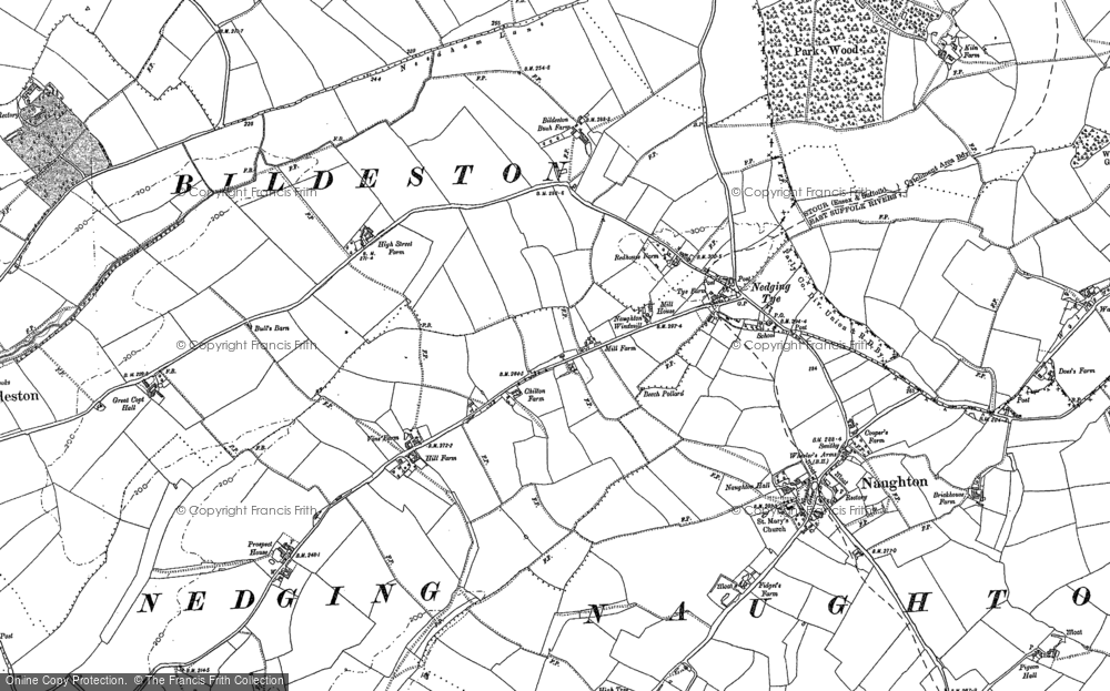 Map of Nedging Tye, 1884 - 1885