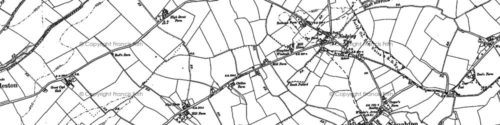 Old map of Nedging Tye in 1884