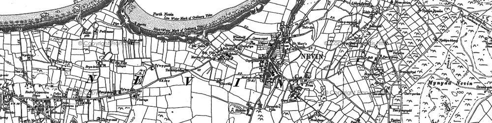 Old map of Tir Bach in 1899
