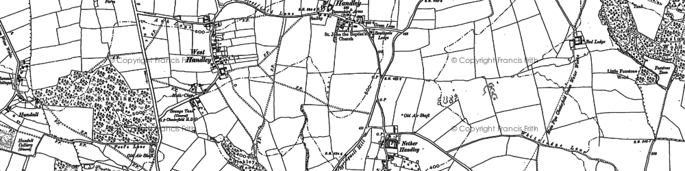 Old map of Nether Handley in 1876