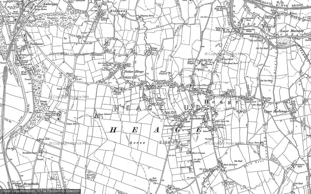 Old Map of Historic Map covering Toadmoor in 1879