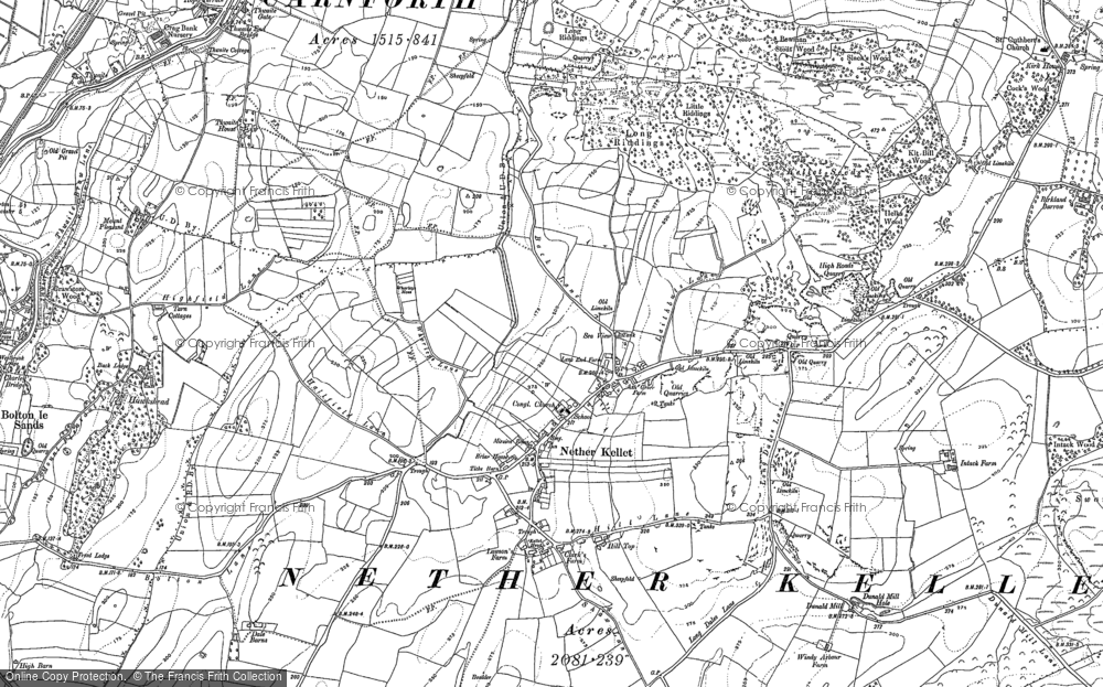 Old Map of Historic Map covering Laverick Hall in 1910