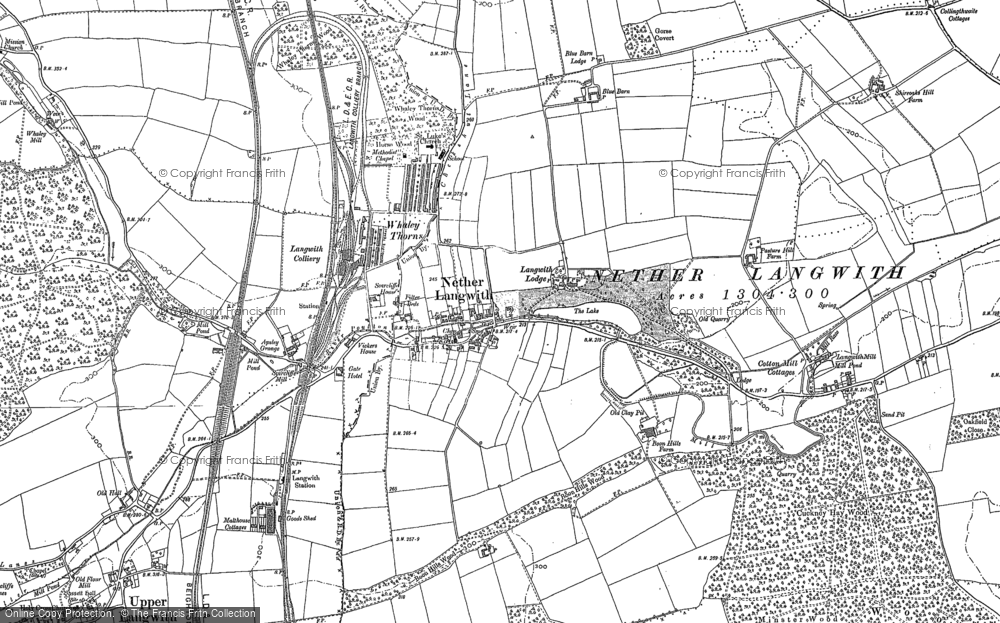 Old Map of Historic Map covering Langwith Mill Ho in 1885