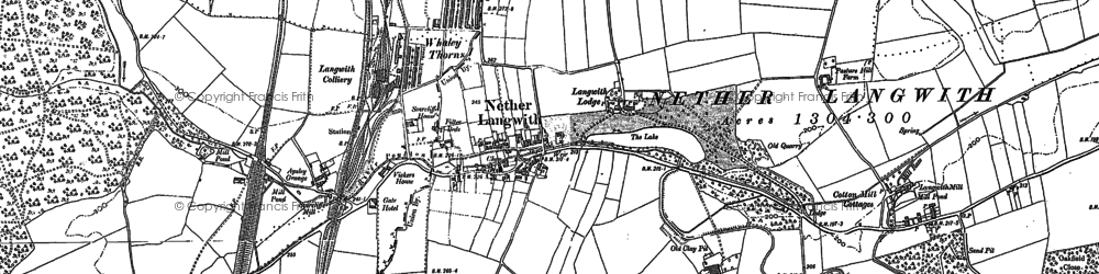 Old map of Langwith Mill Ho in 1885