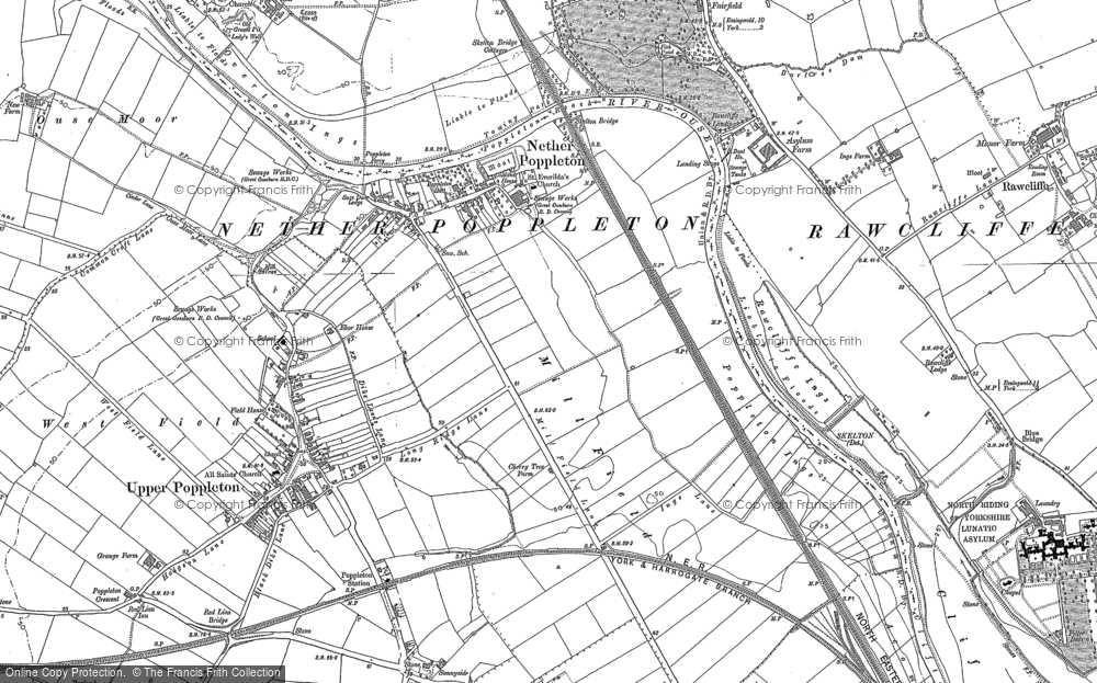 Old Map of Nether Poppleton, 1890 - 1892 in 1890