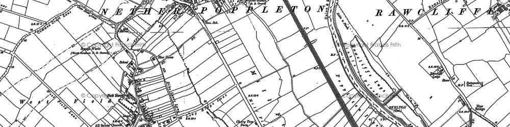 Old map of Nether Poppleton in 1890