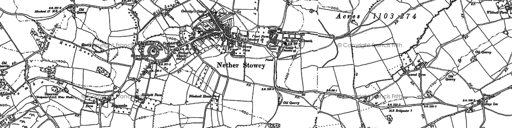 Old map of Nether Stowey in 1886