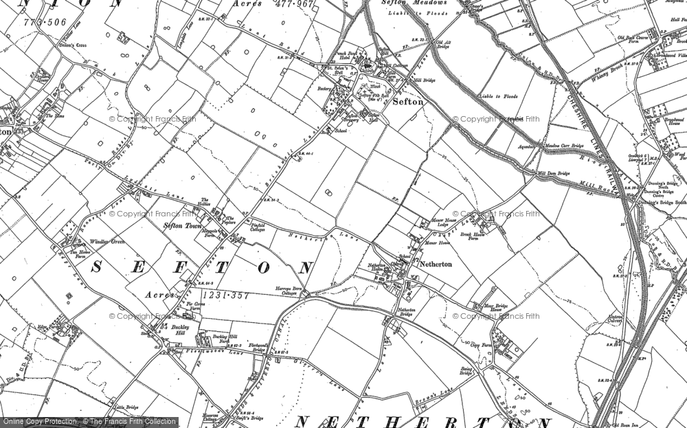 Old Map of Historic Map covering Aintree Sta in 1906