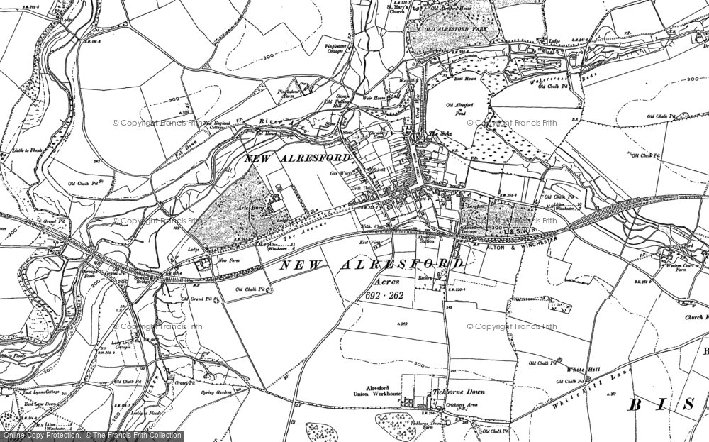 Old Map of Historic Map covering Hampshire in 1895