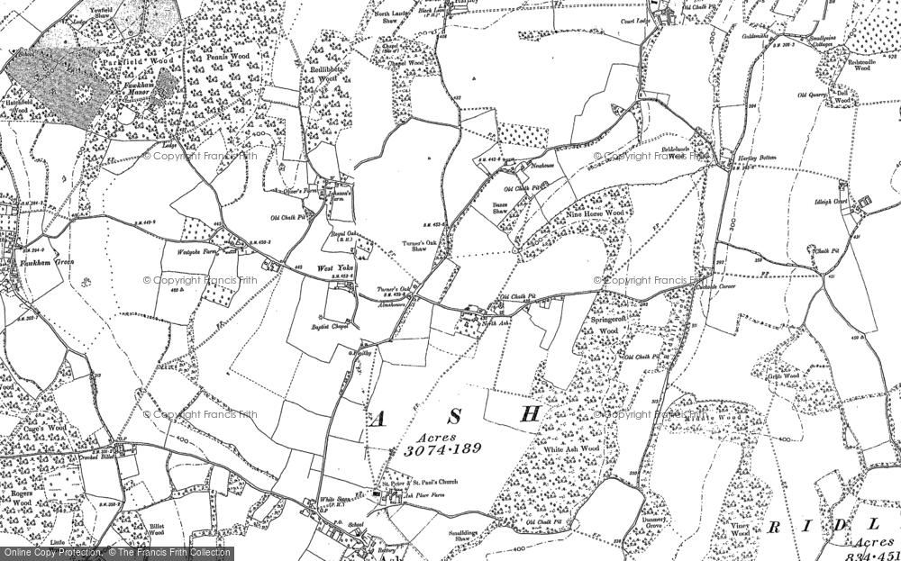 Old Map of Historic Map covering Ash in 1895