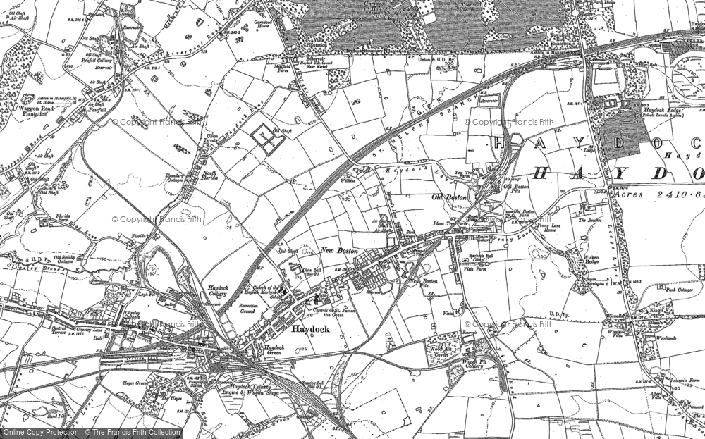 Old Map of Historic Map covering Tithe Barn Hillock in 1891