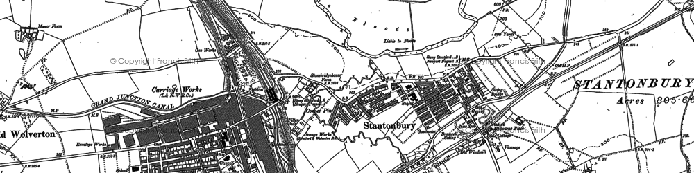 Old map of New Bradwell in 1898