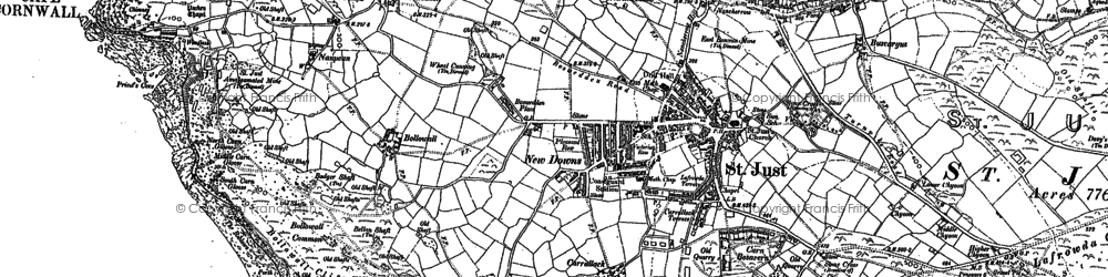 Old map of New Downs in 1906