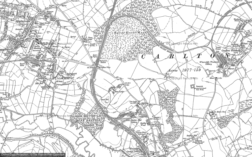 Old Map of Historic Map covering Athersley North in 1851