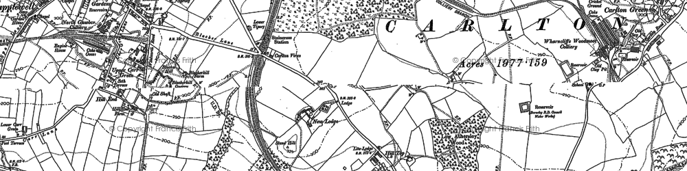 Old map of Athersley North in 1851