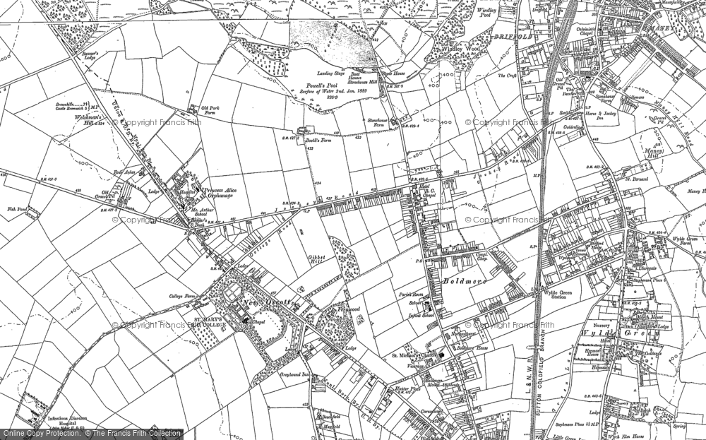 Old Map of Historic Map covering Westwood Coppice in 1887