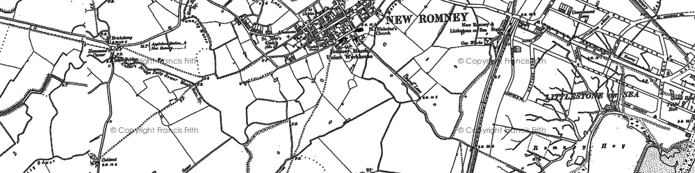 Old map of New Romney in 1906