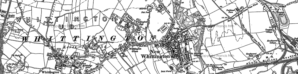 Old map of New Whittington in 1876