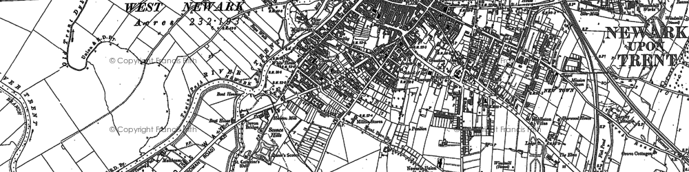Old map of Newark-on-Trent in 1884