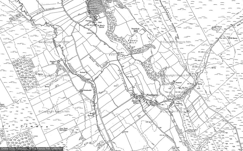 Old Map of Historic Map covering Woodgill Ho in 1898