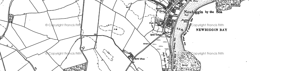 Old map of Newbiggin-by-the-Sea in 1896