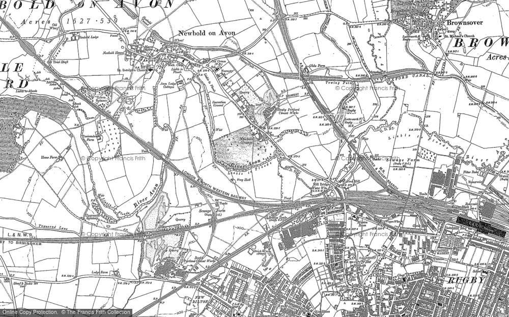 Old Map of Historic Map covering Lower Lodge Fm in 1886