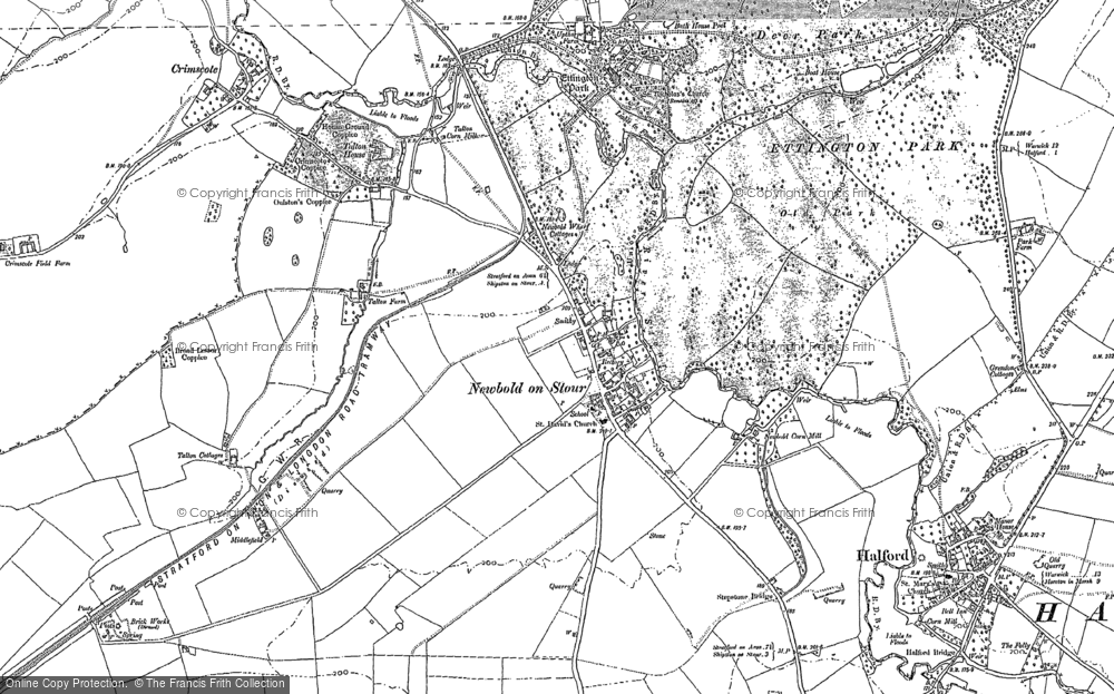 Old Map of Newbold-on-Stour, 1885 - 1900 in 1885