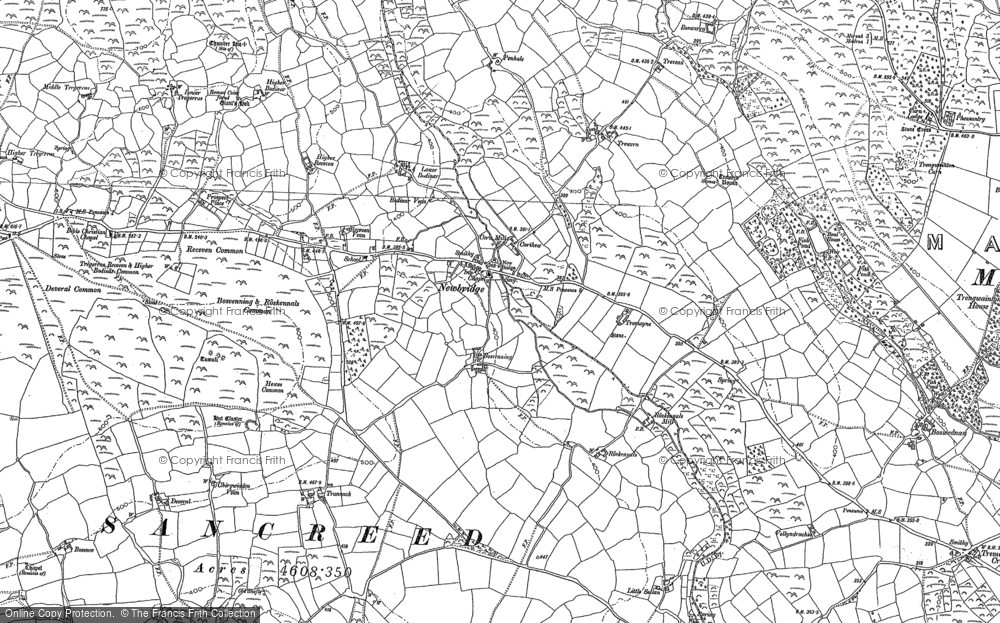 Old Map of Historic Map covering Wheal Buller in 1906